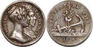 P2763 Rare 10mm Médaille Vertu Clémence Présent ciel 1820 Desnoyers SUP