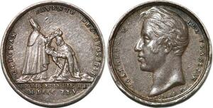 P2770 Rare 14mm Médaille Charles X Trône France 1825 Desnoyers SUP