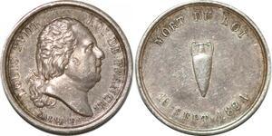 P2776 Rare 16mm Médaille mort Louis XVIII 1824 Galle Desnoyers SUP