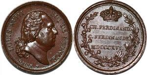 P2780 Rare Médaille Louis XVIII Charles Ferdinand 1816 Galle Desnoyers SPL