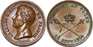 P2786 Rare Médaille Charles X Avenement trône 1825 Desnoyers SPL