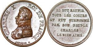 P2788 Rare Médaille Charles X Le bien aimé Levèque Desnoyers SUP