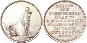 P2790 Rare 18mm Médaille Louis XVIII Paix de Paris 1815 Desnoyers SUP