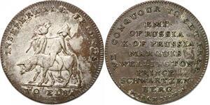 P2830 UK Satiric Medal Napoleon Elba Russia Prussia Desnoyers AU