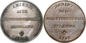 P2843 Médaille Uniface Louis XVIII Aide Ambulant Amiens 1817 Desnoyers SUP
