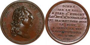 P2901 Rare Médaille Louis XVI sauvetage citoyenne Tours 1789 Paris SPL FDC