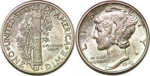 P2985 United States USA Mercury Dime 1943 Silver UNC ->Make offer