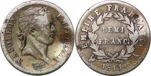 P3062 France Demi Franc Napoléon I 1811 A Paris Argent