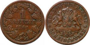 P3076 German States Nassau Kreuzer Adolf 1861 ->Make offer