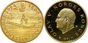 P3364 Norway 1500 Kroner JO Lillehammer 1994 Olav V 1991 K Or Gold