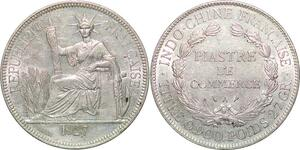 P3429 Scarce French Indochina Piastre 1927 A Paris Silver AU