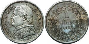P3470 Scarce Vatican Lira Píus IX 1869 Roma R XXIII Silver UNC