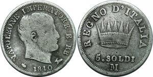 P3480 Italy 5 Soldi Napoleon I 1810 M Milano Silver ->Make offer