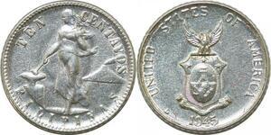 P3518 Philippines 10 Centavos United States of America 1945 D Denver Silver