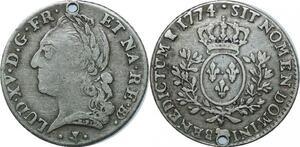 P3596 Tres Rare 1/5 Ecu Bearn Louis XV vielle tête 1774 Pau Vachette Argent