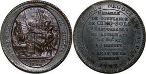P3627 Rare Constitution Monneron 5 sols 1792 An IV Birmingham PCGS AU55 SUP