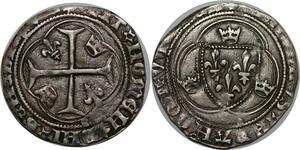 P3639 Rare Charles VII blanc à la couronne 4e émission La Rochelle