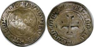 P3643 Rare Louis XI 1461-1483 Blanc au Soleil 1475 Rouen pt. 15e Argent
