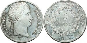 P3670 Rare 5 Francs Napoléon I er 1811 A Paris Argent SUP SPL ->Faire offre