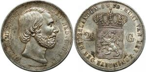 P3728 Netherlands 2 1/2 Gulden Willem III Koning 1872 Silver AU -> Make offer