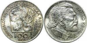P3767 Czechoslovakia 100 Korún Janko Kral 1976 Silver AU ->Make offer