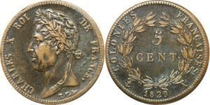 P3838 Colonies Guyana 5 Centimes Charles X 1829 A Paris
