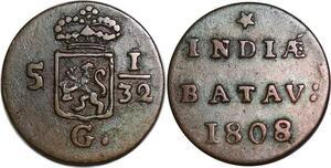 P3875 India Netherlands 1/2 Duit 1/32 Gulden Batavia 1808 -> Make offer