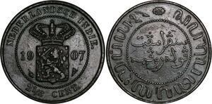 P3881 Indonesia Indië Nederlands 2 1/2 Cent Wilhelmina 1907 ->Make offer