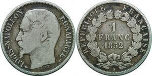 P3981 1 Franc Napoléon Louis Bonaparte 1852 A Paris Argent Silver -> F offre