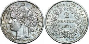 P4002 Rare 2 Francs Ceres 1871 A Paris Argent Silver SUP ->Faire offre