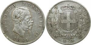 P4125 Italy 5 Lire Victor Emmanuel II 1864 N Naples Silver -> Make offer