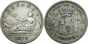 P4264 Scarce Spain 2 Pesetas 1870 (74) DE M Madrid Silver ->Make offer