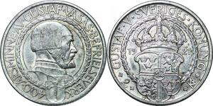 P4327 Sweden 2 Kronor Gustav V 400 th Years Liberty 1921 Silver AU