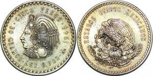 P4366 Mexico 5 Pesos Buste Cuauhtemoc 1948 Silver UNC