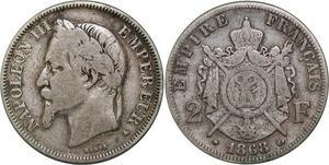 P4390 2 Francs Napoléon III 1868 A Paris Argent -> Faire offre