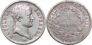 P4410 Rare 1 Franc Napoléon Ier 1808 W Lille Argent -> Faire offre