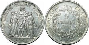 P4443 5 Francs Hercule 1876 A Paris Argent Silver SUP ->Faire offre