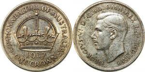 P4574 Australia Crown George VI 1937 Silver AU -> Make offer
