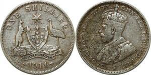 P4576 Australia Shilling George V 1914 Silver -> Make offer