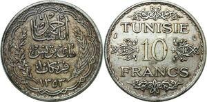 P4593 Tunisia 10 Francs Ahmad Pasha Bey AH 1353 1934 Silver -> Make offer