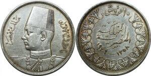 P4615 Egypt 10 piastres Farouk AH 1358 1939 Silver AU -> Make offer