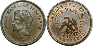 P4755 Médaille Louis Napoléon Bonaparte Ville Paris Empereur 1852 SUP