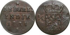 P5027 Indonesia Dutch East Indies 1/2 Stuiver Wilhelm I 1824 S Sumatra