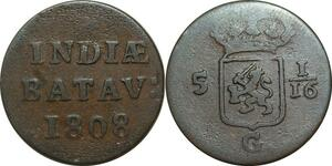 P5028 Indonesia Niederland Indien 1/16 Stuiver 1808 Batavia -> Make offer