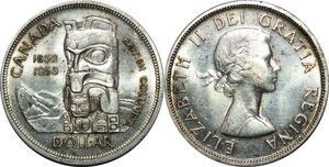 P5036 Canada One Dollar Elizabeth II 1858 1958 British Columbia Silver AU