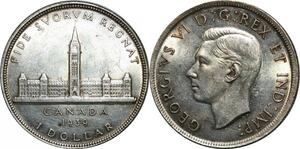 P5039 Canada One Dollar George VI 1939 Royal Visit Silver UNC -> Make offer