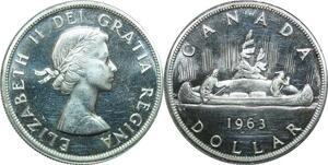 P5043 Canada One Dollar Elizabeth II 1963 Canoé Silver UNC