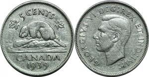 P5047 Canada 5 Cents Georges VI 1939 Silver  -> Make offer