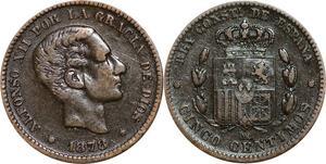 P5201 Spain 5 Centimos Alphonso XII 1878 OM -> Make offer