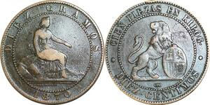 P5225 Spain 10 Centimos Provisional Government 1870 OM -> Make offer